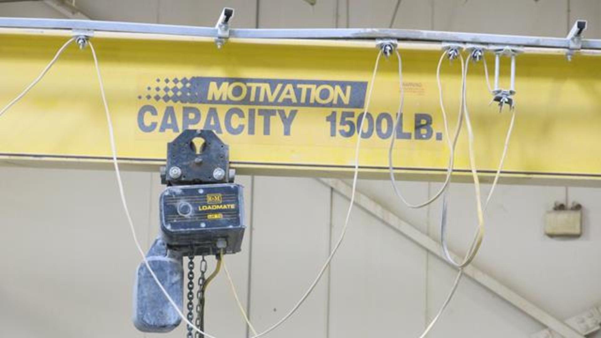 Lot 912 - MOTIVATION, 1,500 LBS., JIB CRANE WITH LOADMATE ELECTRIC HOIST