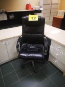 BLACK, LEATHER OFFICE CHAIR ON CASTERS