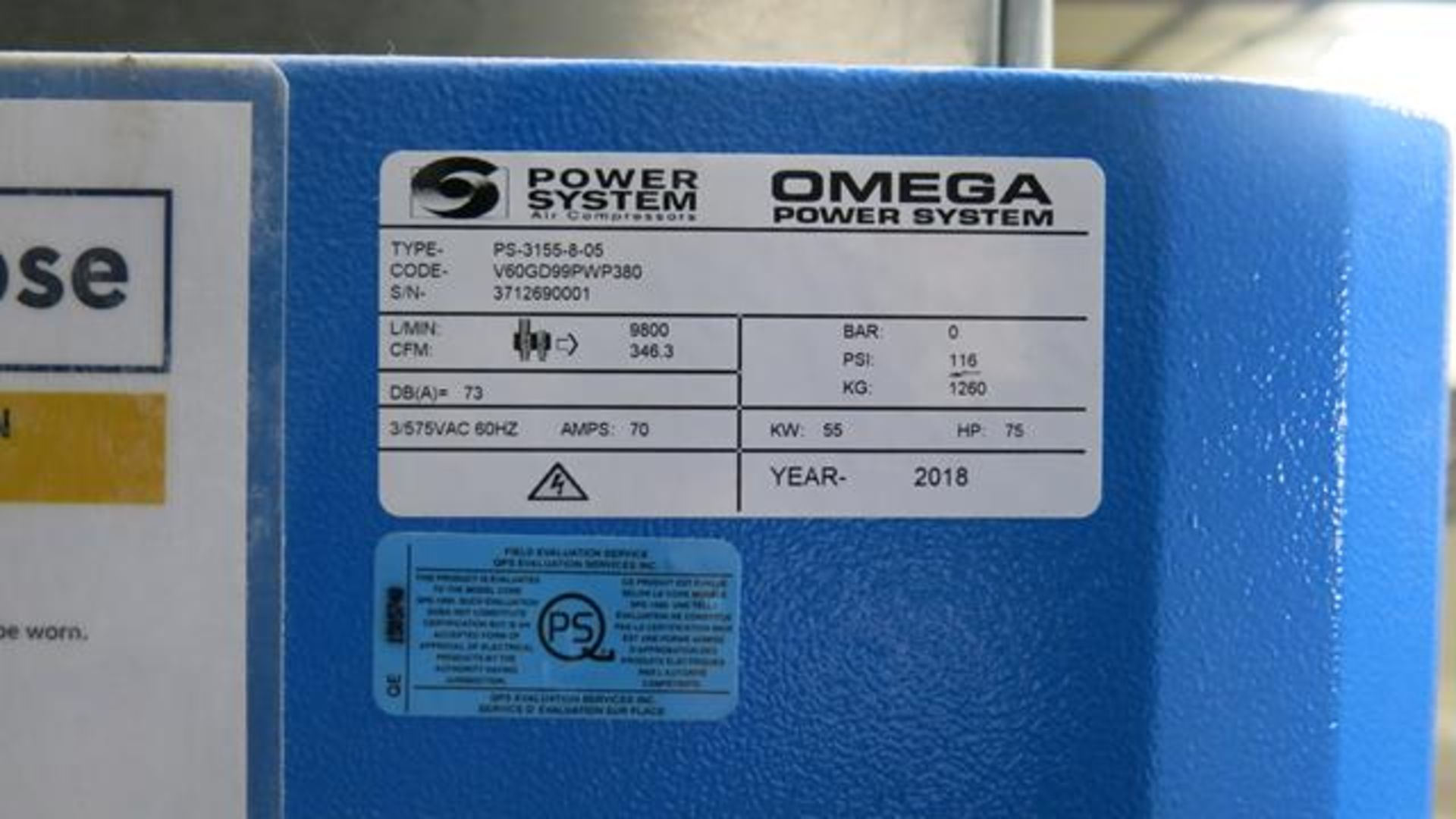 Lot 924 - OMEGA POWER SYSTEMS, PS-3155-8-05, NEWTON 3155, 75 HP, AIR COMPRESSOR, 116 PSI, S/N 3712690001, 2018