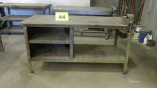"STEEL, WORK BENCH WITH 4"" VICE, 5' X 3' X 3'"