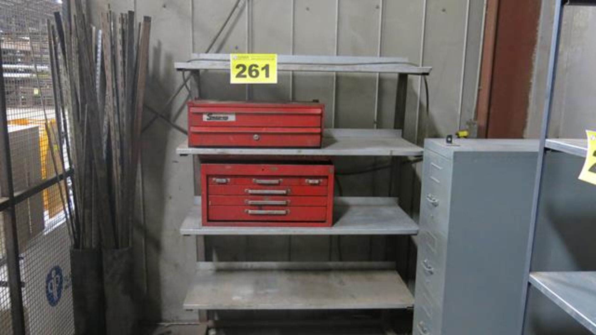 FOUR SHELF, STORAGE RACK WITH CONTENTS
