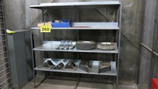 THREE SHELF, STORAGE RACK WITH CONTENTS, 6' X 2' X 4'