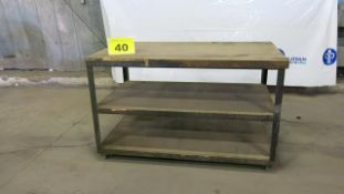 STEEL, ROLLING WORK BENCH WITH WOODEN TOP, 5' X 3' X 3', 200 LBS.