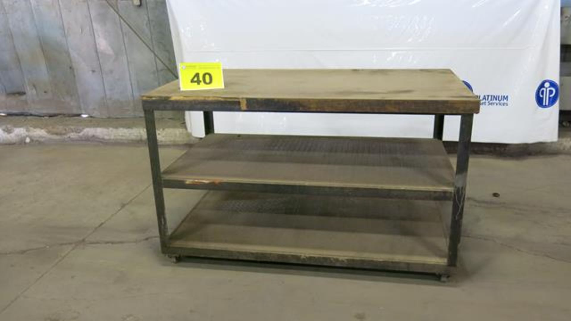 Lot 40 - STEEL, ROLLING WORK BENCH WITH WOODEN TOP, 5' X 3' X 3', 200 LBS.