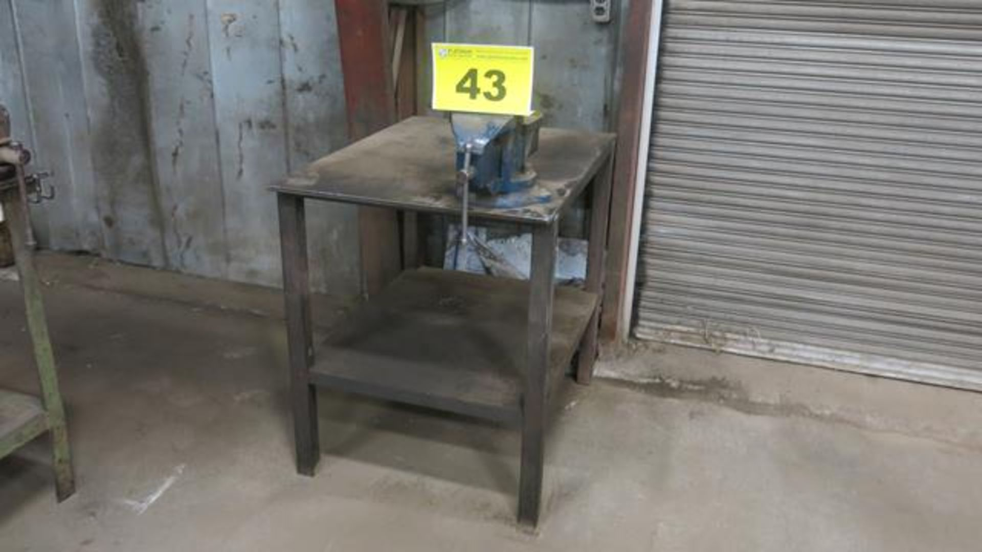 "Lot 43 - STEEL, WORK BENCH WITH 6"" VICE, 3' x 2' x 3'"