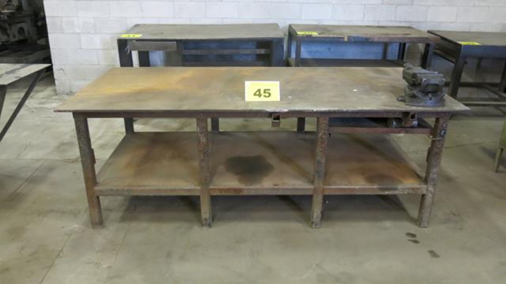 """STEEL, WORK BENCH WITH 6"""" VICE, 6' X 4' X 3'"""