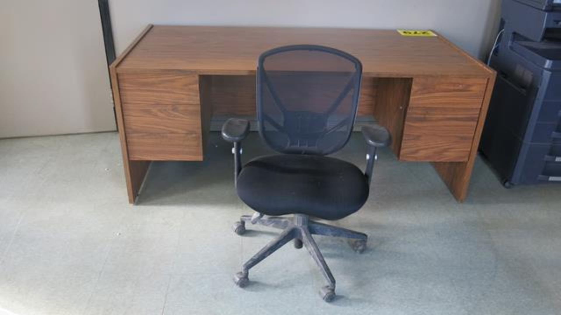 WOOD OFFICE DECK WITH FABRIC OFFICE CHAIR - Image 2 of 2