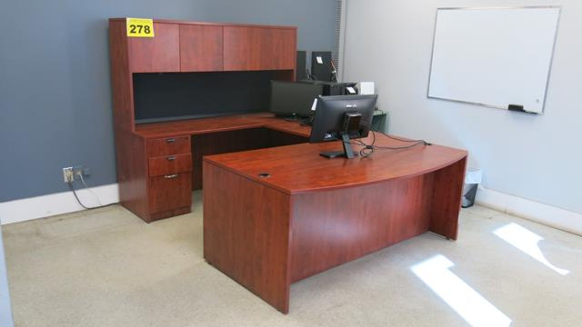 U-SHAPED, WOOD OFFICE DECK WITH FABRIC OFFICE CHAIR ON CASTERS