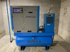 OMEGA, PS-1015-10-05-120TD, 20 HP, ROTARY SCREW AIR COMPRESSOR, 145 PSI, 2,664 HOURS, WITH AIR DRYER