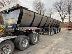 TROUT RIVER, 48', QUAD AXLE LIVE BOTTOM TRAILER, AIR SUSPENSION, STEER AND LIFT AXLE, POWER TARP,