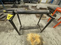 CUSTOM FABRICATED, STEEL, OUTFEED ROLLER ON STAND, 3' X 3' X 4'