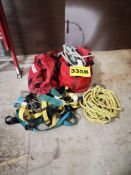 LOT OF SAFETY HARNESSES AND ROPES