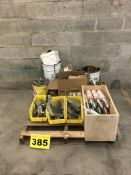 LOT OF ASSORTED CONSTRUCTION EXTERIOR SEALANTS, JOIST HANGERS AND BULK HEAD PLATES, ASSORTED SIZES