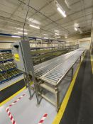 TRIPLE LANE, MOTORIZED, CONVEYOR, 60' X 45', WITH 45 DEGREE LEFT TURN SECTION. MIDDLE LANE IS