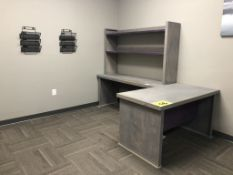 GRAY, L-SHAPED, OFFICE DESK WITH TABLE, HUTCH AND WALL MOUNTED FILING HOLDERS