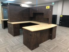BROWN, U-SHAPED, OFFICE DESK WITH HUTCH, 7' X 6'
