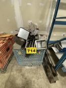 LOT OF ASSORTED METAL WITH PLASTIC STACKING TOTE