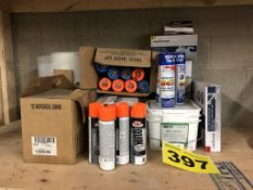 LOT OF ASSORTED CONSTRUCTION MATERIAL INCLUDING FASTENING PLATES, FAUCETS, SPRAY PAINT, ETC.