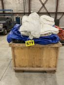 LOT OF (8) LARGE CONSTRUCTION TARPS IN WOODEN TRAVEL TOTES, 4' X 4'