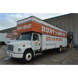 1996 Freightliner Single-Axle 26 ft, Box Moving Van Truck Model FL70, VIN 1FV6HFACXTL727992, 26 ft.
