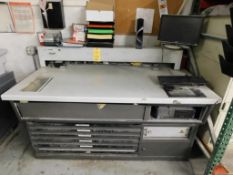 LOT: CPC 71 in. Printers Workstation w/Computer and Contents