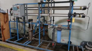 LOT: RO Filter System, (4) 4 in. SS Membrane Vessels, (3) Membranes Each, Grundfos Multi-Stage Pump,