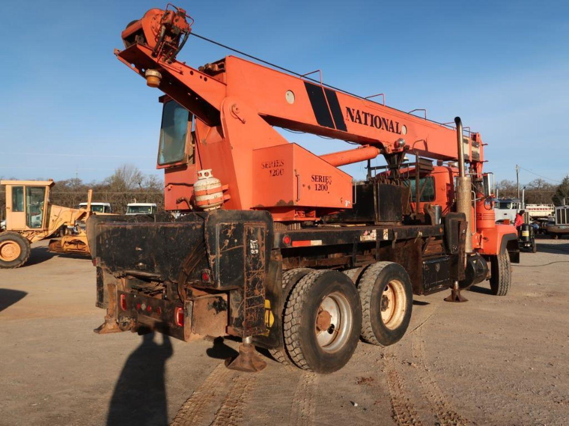 Lot 107 - 1993 Mack RD690S, Flat Bed Crane Truck, complete w/National 1200 Series Boom Crane, 12.0L L6 Diesel,