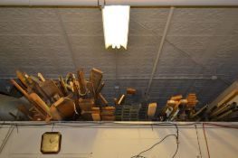 LOT: Large Quantity Assorted 4 in. Wood Flooring Planks (above office & under deck)