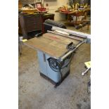 Delta 10 in. Tilting Arbor Table Saw, S/N 86012031, 27 in. x 36 in. Work Table, with Rip Fence & Ext