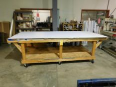 10 ft. x 4 ft. x 3 ft. Rolling Wooden Shop Table