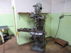 Bridgeport 1 HP Vertical Mill, S/N 68392, 9 in. x 42 in. Work Table, Micrometer Adjustable Pneumatic