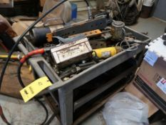 LOT: (3) Hydraulic Cylinders, Pump, Assorted Tooling, with Cart