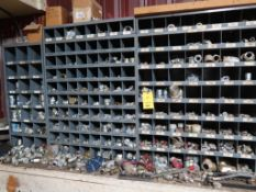 LOT: Large Quantity of Hydraulic Fittings with Cubby Hole Shelving & Drawers