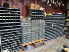LOT: Large Quantity of Fasteners with Cubby Hole Shelving & Drawers