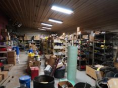 LOT: Contents of Parts Room including Filters, Fluids, Truck Parts, Bearings, Chain, Engine & Brake