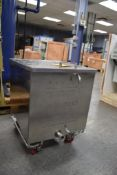Stainless Steel Siphon Tank, Approximate 15 Gallons, (1) Piece Top Cover Mounted On Casters
