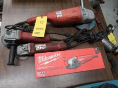 LOT: (3) Milwaukee 4-1/2 in. Right Angle Grinders (one new), (1) Milwaukee 7 in. Right Angle Grinder