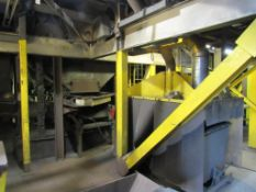 Pangborn Shot Blast Machine, 100 HP, Continous Thru-Feed, Air Wash, Shaker Conveyor, Single Head, Co