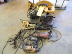 LOT: Dewalt 14 in. Chopsaw, Dewalt Sawzall, Dewalt and Bostich Drills, 4.5 in. Angle Grinder, Weller