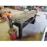 LOT: 28 in. x 72 in. Welding Bench with 6 in. Vise and Ridgid Top Screw Chain Vise (LOCATED IN