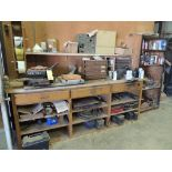 LOT: Ideal #1 Stencil Machine, Wood Work Bench, Lawson 4-Drawer Cabinet, Assorted Fittings (