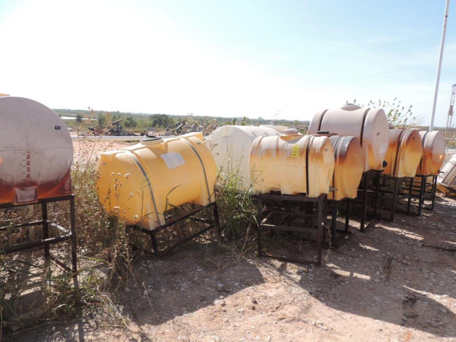 LOT: (10) Poly Tanks - (1) 500 Gallon, (2) 225 Gallon, (1) 220 Gallon, (7) 130 Gallon (some tanks