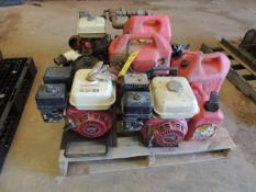 LOT: (3) Honda Gas Engines, Assorted Gas Cans and Fuel Tanks (LOCATED IN HENNESSEY, OK. - IN CHEM BL