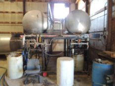 LOT: (2) Farm Tank 500 Gallon Bulk IN CHEM BLDG.ical Tanks, Stainless, with (2) Dayton Centrifugal