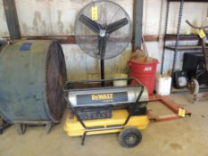LOT: Max Air 30 in. Pedestal Fan, Dewalt 135,000 BTU Space Heater (LOCATED IN HENNESSEY, OK. - IN CH