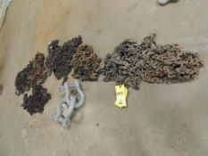 LOT: Assorted Chains and (3) 1.5 In. Shakles(Located Cowboy Bldg)(LOCATED IN HENNESSEY, OK)
