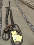 LOT: (1) Chain Sling, 3/8 In. x 5 Ft. 2 Leg Adjustable, (1) Chain Sling, 3/8 In. x 8 Ft. 2 Leg Adjus