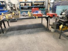 LOT: (6) Assorted Steel Tables, Columbian 4-1/2 in. Vise (delay removal)