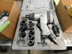 LOT: 1/2 in. Pneumatic Impact Wrench with Case & Assorted Sockets