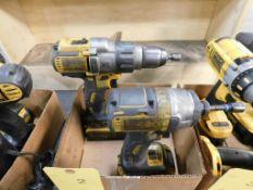 LOT: (1) Dewalt 1/2 in. Cordless Hammer Drill, (1) Dewalt 1/4 in. Cordless Impact Driver, with